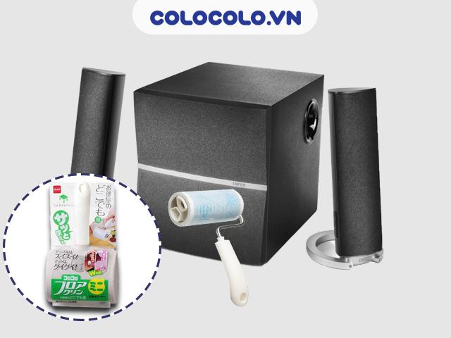 Sử dụng cây lăn bụi đa năng COLOCOLO vệ sinh loa máy tính tiết kiệm điện